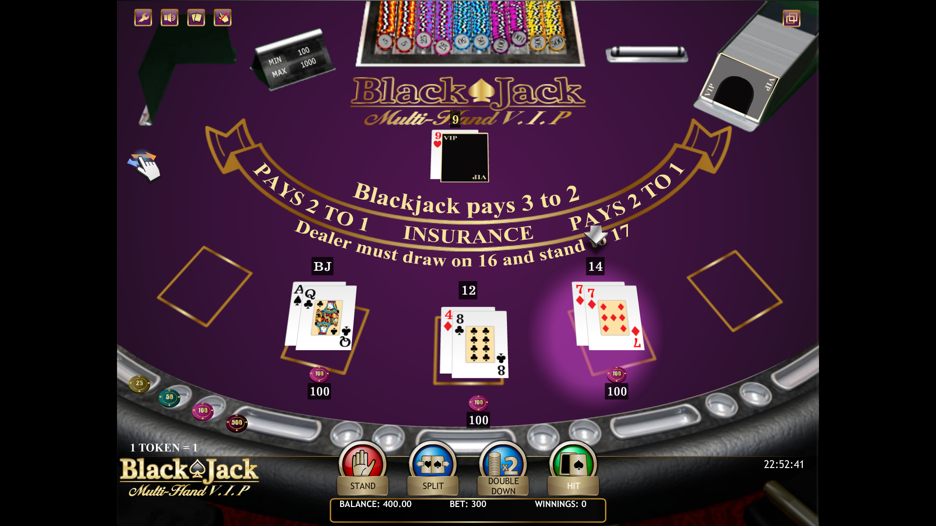 a picture of an online blackjack game